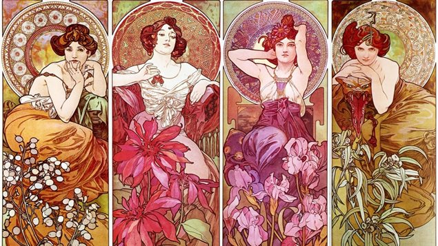 Quelques d�esses du printemps illustr�es par Alfons Mucha
