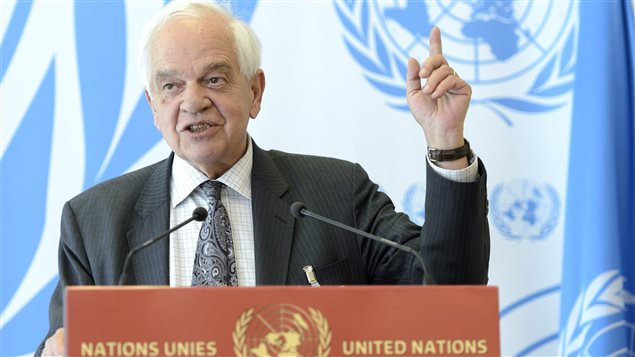 John McCallum, Canada's Minister of Immigration, Refugees and Citizenship, speaks at a press conference following his participation at the meeting on global responsibility sharing through pathways for admission of Syrian refugees, at the United Nations in Geneva, Switzerland, Wednesday, March 30, 2016.