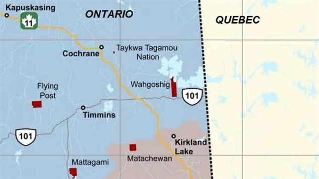 The Wahgoshig and Taykwa Tagamou areas are within the lands now being claimed by the Quebec Cree.