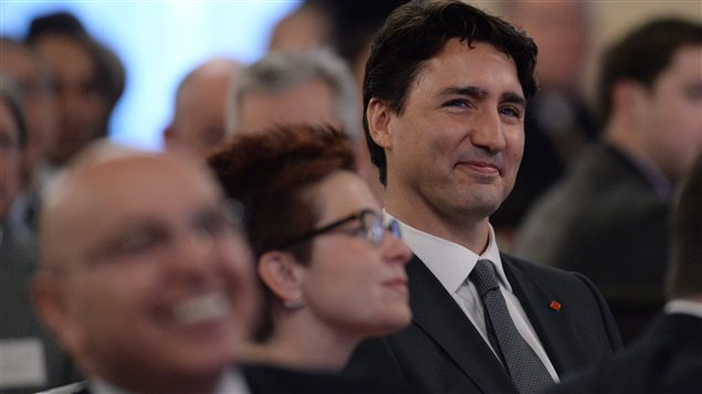 Prime Minister Justin Trudeau listens to opening remarks prior to delivering remarks and taking part in a question and answer session at the United States Chamber of Commerce in Washington, D.C., on Thursday, March 31, 2016.