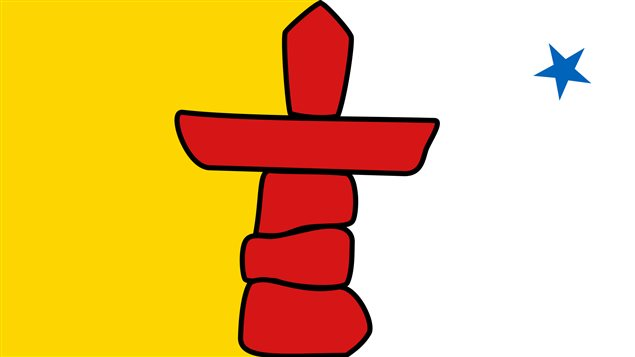 The flag of Nunavut, it features a stylized image of the traditional Inuit land market, and inukshuk, which is used to guide Inuit travels in the Arctic and to mark sacred places, while the star represents the North Star