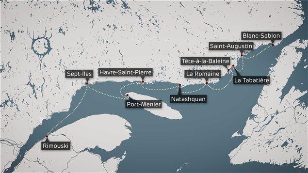 Les onze ports desservis par le Bella Desgagnés.