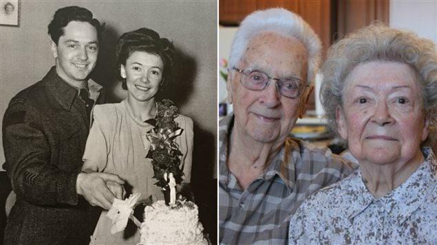 Paul Lapierre et Georgette Roy Lapierre, lors de leur mariage dans les années 1940 et aujourd'hui à 96 ans et 93 ans