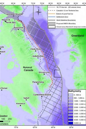 another view of seismic testing area proposed, including into the proposed NMCA Lancaster sound area and all down the coast of Baffin Island