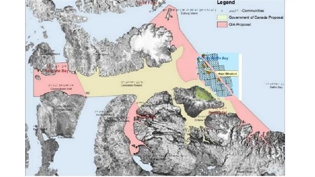 YELLOW- the government proposed NMCA PINK the QIA proposed NMCA Crosshatch area shows area of the questionable exploration permits which overlap the QIA proposal