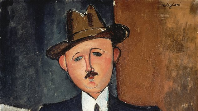 Homme assis avec une canne d'Amedeo Modigliani