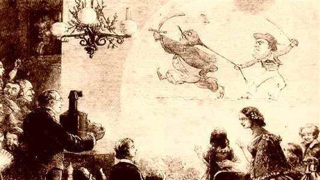 Illustration d'un spectacle de lanterne magique.