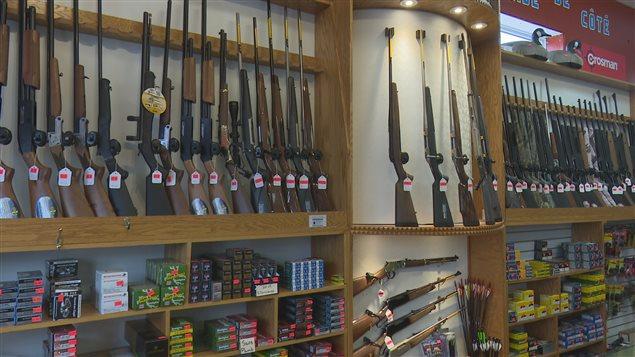 Des armes dans un magasin de chasse.