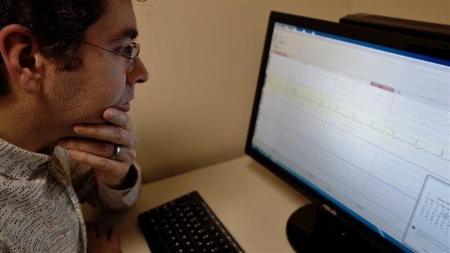 Professor Grossmann analyzing EGC data; (heart rate)