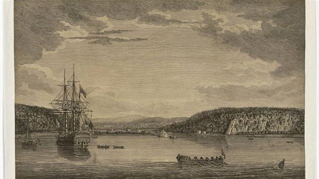 Estampe du Cap Rouge, au moment de l'attaque des Anglais, le 13 septembre 1759.