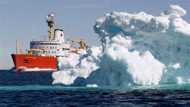 A Canadian Coast Guard icebreaker sails through Lancaster Sound, Nunavut on July 11, 2008. Conservationists want to remove obstacles to it being made a marine conservation area.