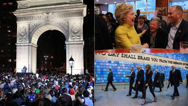 Bernie Sanders, Hillary Clinton et Donald Trump en campagne à New York