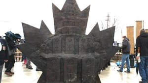 Rear view of the memorial to the Canadian Forces, showing headstones like those found in Canadian military cemetaries in Europe.