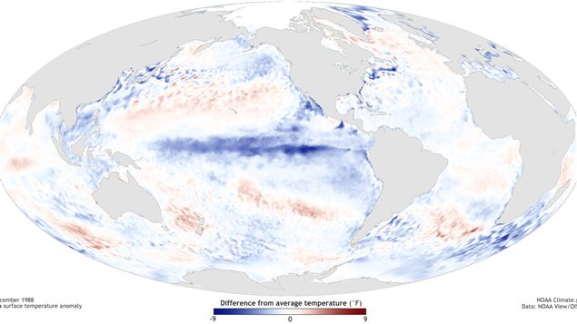 A map shows 'sea surface temperature anomaly' during a strong La Nina in December 1988.