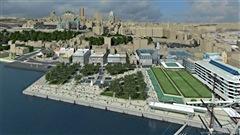 Québec a présenté les plans de la future place des Canotiers, qui va s'inspirer de l'histoire maritime du secteur.  Claude reçoit la présidente de la Commission de la Capitale-Nationale, Françoise Mercure.