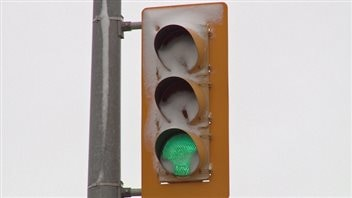 : City of Windsor officials said the incandescent bulbs they used to use would have melted snow off this LED traffic light.