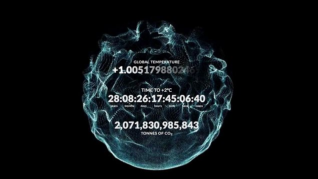 The Countdown 2° Clock tells how long before world temperatures go up by 2C, the threshold after which scientists predict climate change will wreak havoc and become irreversible.