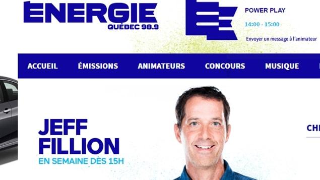 La page web de l'émission de Jeff Fillion a été supprimée mercredi du site Internet d'Énergie