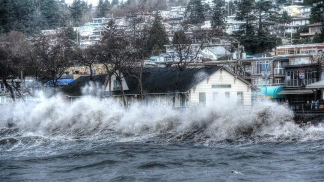 Storm surge waves pound the shore in White Rock, near Vancouver BC. in March 2016. Rising sea level and increased storms both resulting from warming and climate change are already affecting Canada's huge coastline