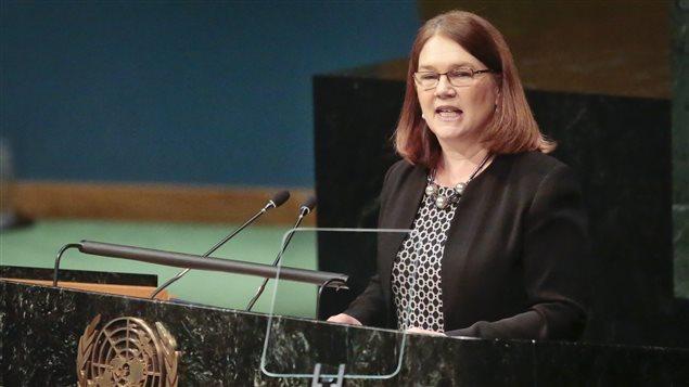 Jane Philpott, ministre de la Santé du Canada, lors d'une allocution aux Nations unies à New York