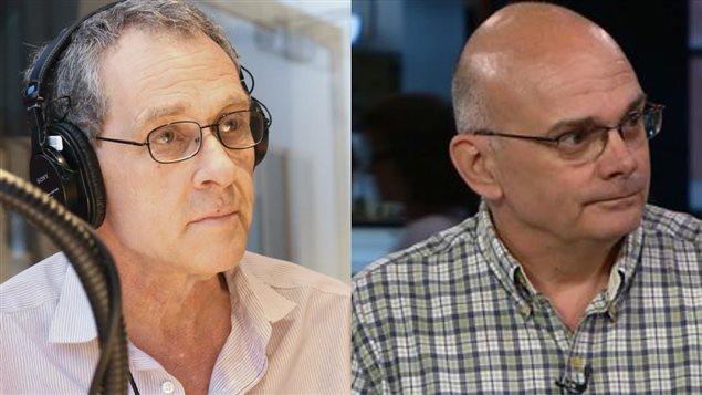 Michel Cormier, directeur général de l'information de Radio-Canada et Pierre Trudel, professeur de droit au Centre de recherche en droit public de l'Université de Montréal