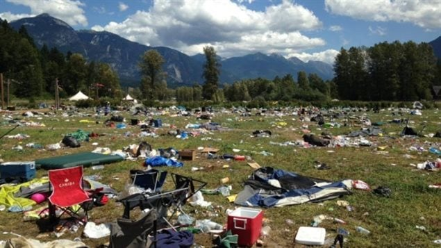 Debris left after the Pemberton B.C music festiveal in 2015. Less of a question of not knowing about recycling and consequences ,more a question of convenience to get people to think of the environment and thair actions
