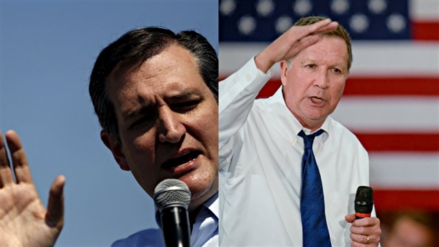 Les candidatos republicanos Ted Cruz et John Kasich.