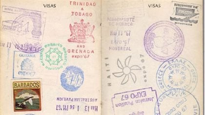 Inside an Expo passport showing countries and displays visited