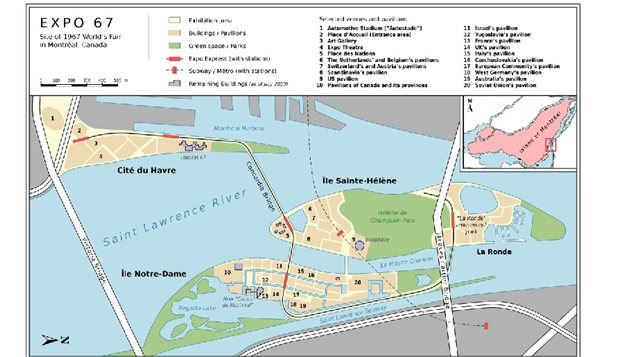 map of layout for Expo 67 showing *expo express* transpor from montreal to the islands, and various pavillion locations and the La Ronde amusement area
