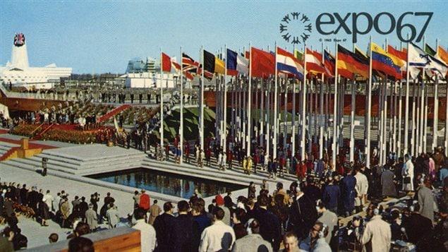 Postcard showing opening ceremonies, British pavillion in the upper left background