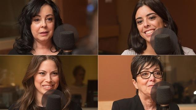 De gauche à droite et de haut en bas : Margarida Correia, Meaghan Benfeito, Roseline Filion et Hélène Filion