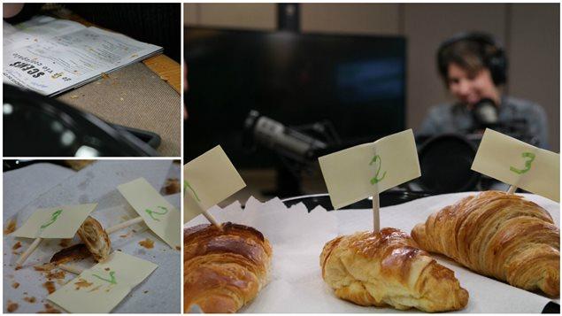 Un montage photo de la dégustation de croissants de l'équipe de l'émission Les malins plaisirs.