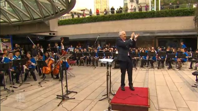 Youth orchestras, professional musicians and choirs all joining together. This was one of the hundreds of concerts and performances which took place in cities across Canada on Music Monday in 2015, this one in metro Vancouver