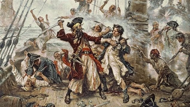 Capture of the Pirate, Blackbeard 1718, by Jean Leon Gerome Ferris painted in 1920. Edward Teach (aka Blackbeard) was one of the most successful pirates but came to his own bloody end somewhere between 30 and 40 years old, in a battle with a small Royal Navy force in North Carolina.