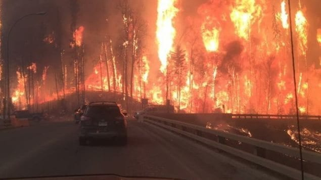 A view from residents trying to leave Fort McMurray, Alta., from Twitter user @ccccrystal__. The city is under an evacuation order due to a raging wildfire