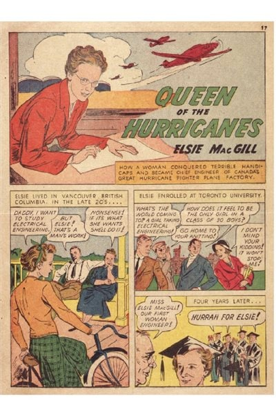 Elsie MacGill was featured in a wartime comic book in the US as Queen of the Hurricanes