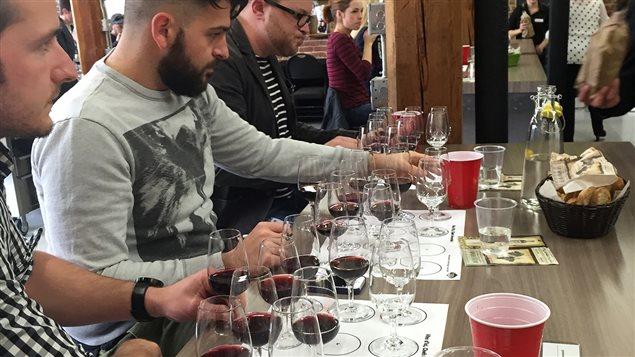 Les chefs et les sommeliers de l'Estrie ont été invités à déguster à l'aveugle une vingtaine de vins provenant de 13 vignobles de la région.