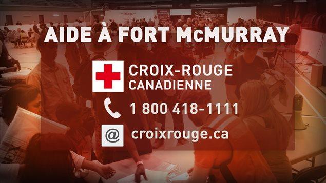 لوغو الصليب الأحمر الكندي مع رقم الهاتف الذي وُضع بتصرف المواطنين لجمع التبرعات لمنكوبي حريق فورت ماكموري