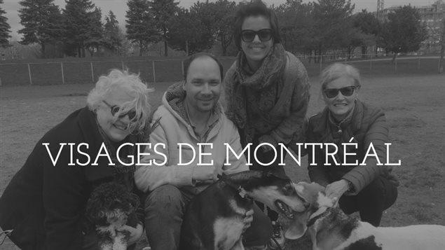 Gisèle Bourret, François Couture, Anita D'Onofrio, Louise Leduc et leurs chiens, au parc Jarry