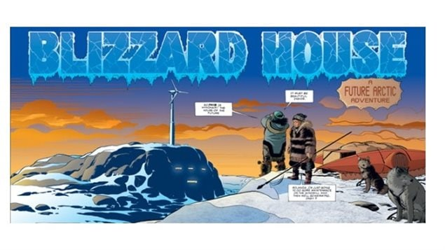 Opening scene of Blizzard House, a science fiction tale of future energy in the far north. Written by Burns and illlustrated by George Freeman, known as the creator of Captain Canuck