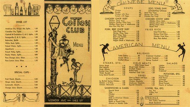 Un menu du Cotton Club