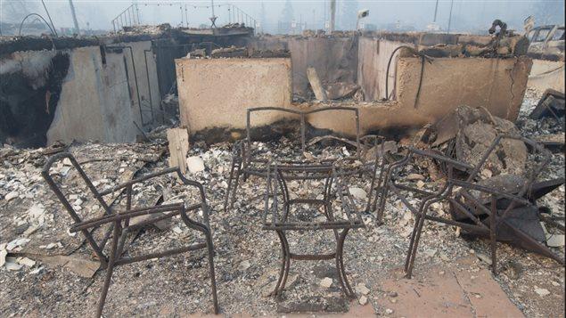 Maisons détruites par les flammes à Fort McMurray
