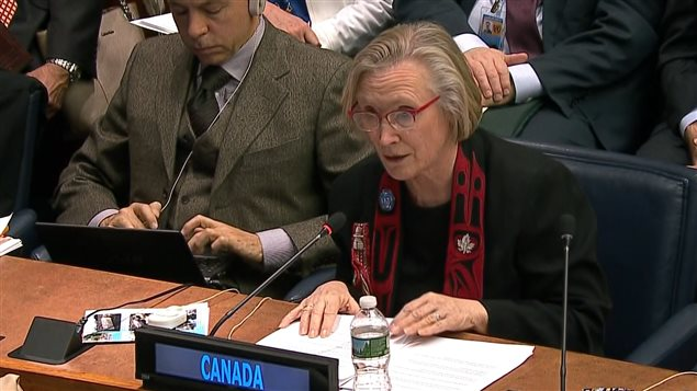 Le ministre fédérale des Affaires autochtones et du Nord, Carolyn Bennett, lors de son intervention aux Nations unies.