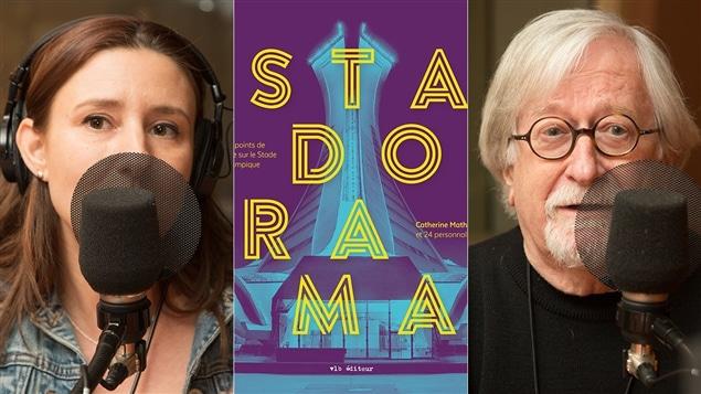 Catherine Mathys, la page couverture de son livre, <i>Stadorama</i>, et Michel Dallaire
