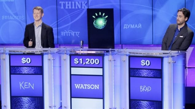 IBm computer Watson uses a copmlex system of analytical programmes to understand human speech, analyze meaning, and give a response based on it's enormous data-base and in a human-like voice. It handily beat human champions on the quiz show.