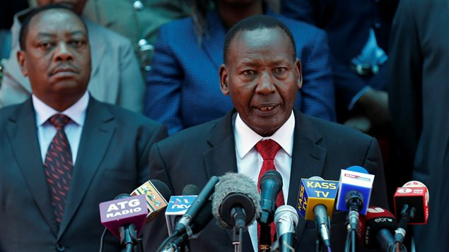 Kenya's Interior Minister Joseph Nkaissery addresses a news conference on the closing down of Dadaab refugee camp in Nairobi, Kenya, May 11, 2016.