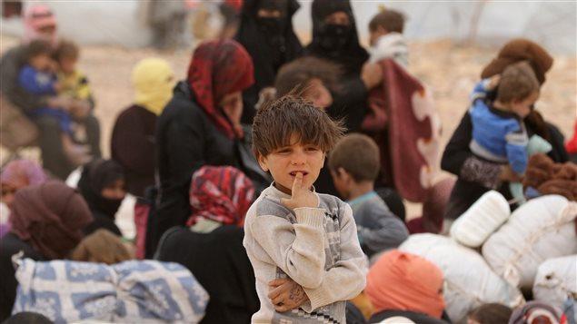 Un groupe de réfugiés syriens en Jordanie