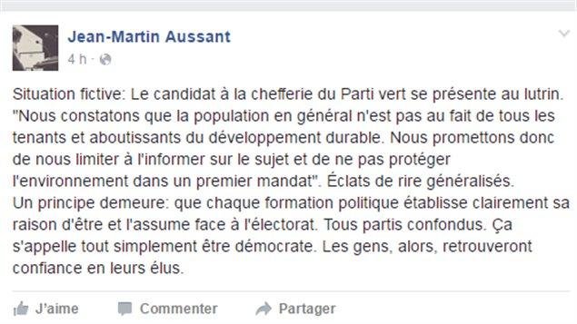 Jean-Martin Aussant réagit sur sa page Facebook à la candidature de Jean-François Lisée.