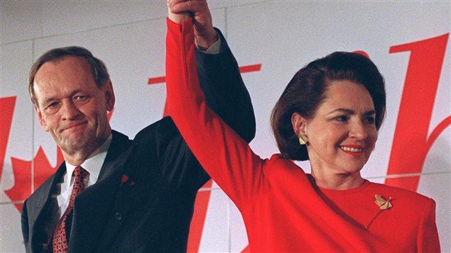 Jean Chrétien et sa femme Aline lors de la victoire du Parti libéral en 1993