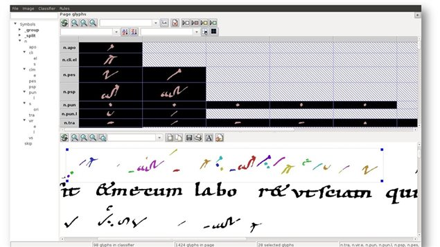 Screen grab of computer programme identifying various neumes in a scanned medieval musical text